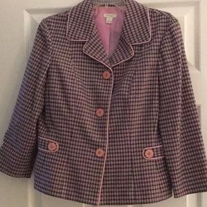 Nordstrom's Halogen wool Pink plaid short blazer